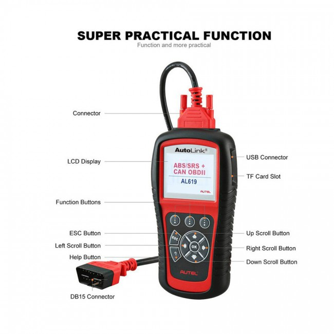 100% Original Autel AutoLink AL619EU ABS/SRS OBDII CAN Diagnostic Tool Support Citroen/Peugeot