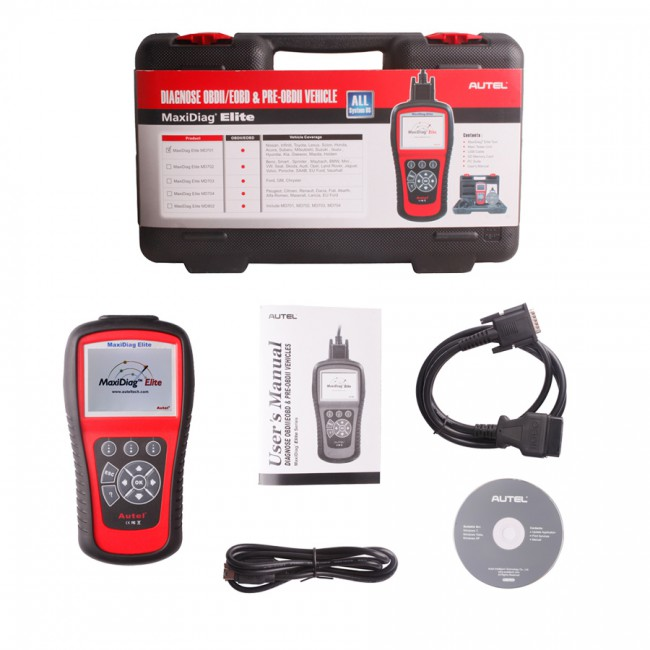 100% Original Autel MaxiDiag Elite MD703 Four System with Data Steam USA Vehicle Diagnostic Tool Update Online