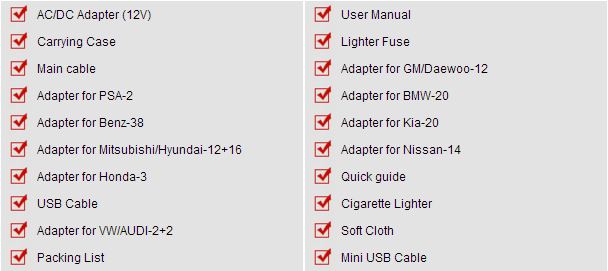 Autel MK908P package List